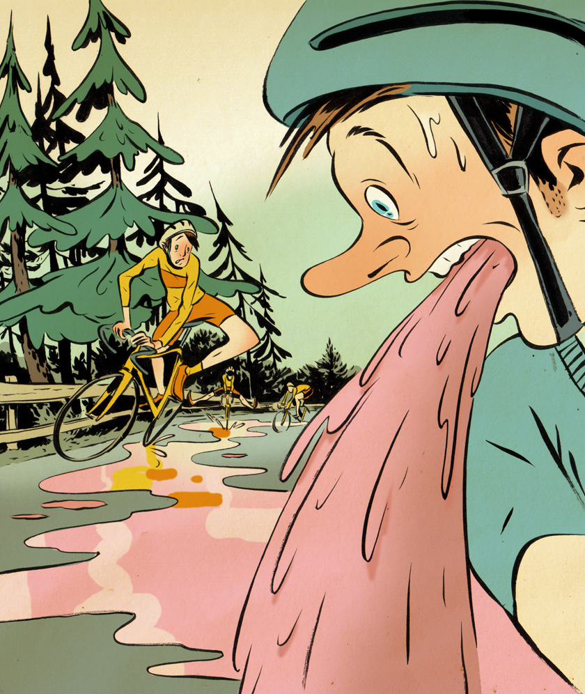 bicycling vomit