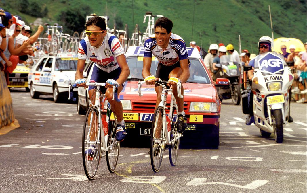 1991_Tour_Indurain_y_Chiappucci_camino_de_Val