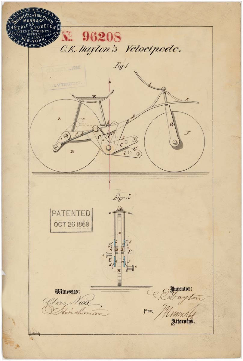 08807_2003_001.tif Velocipede patent drawing by C.E. Dayton 10/26/1869