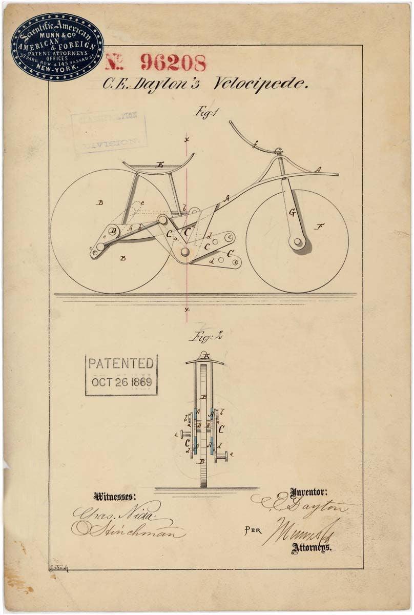 08807_2003_001.tif Velocipede patent drawing by C.E. Dayton 10/26/1869