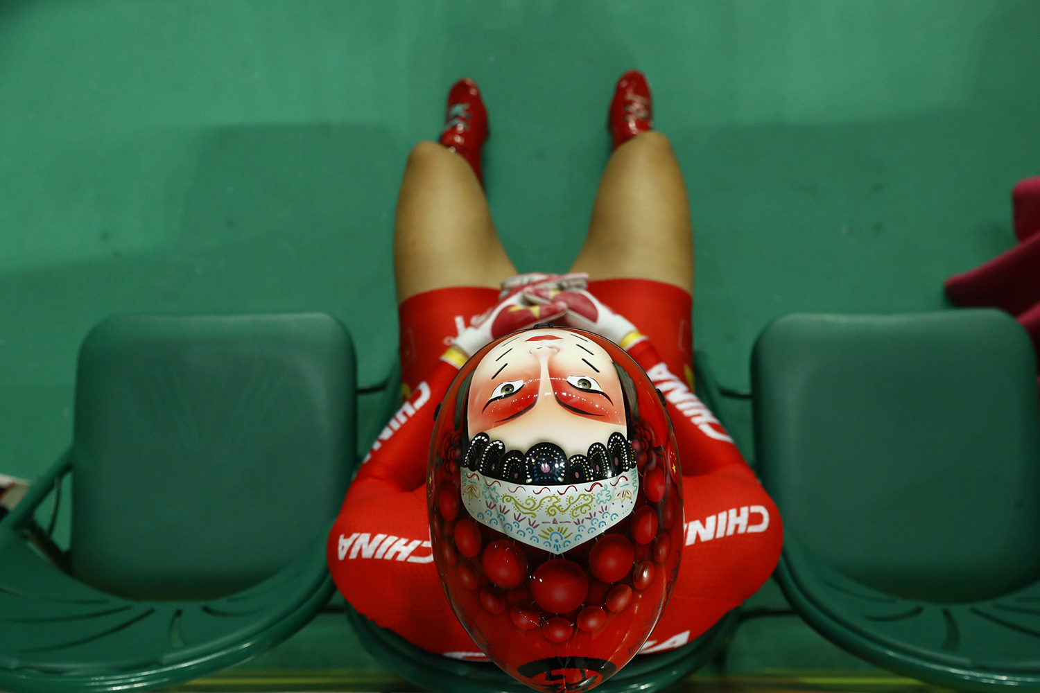 Zhong Tianshi of China waits to compete in the women's keirin second round cycling event at the Rio Olympic Velodrome during the 2016 Summer Olympics in Rio de Janeiro, Brazil, Saturday, Aug. 13, 2016. (AP Photo/Patrick Semansky)